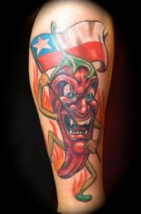 Ziguri_Tattoo_Berlin_Schöneberg_Chillischote_Chilenische Flagge_Wade