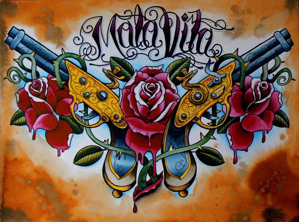 Ziguri#Tattoo#Berlin#Schöneberg#Tattooflash#Rosen#Pistolen#Mala Vita