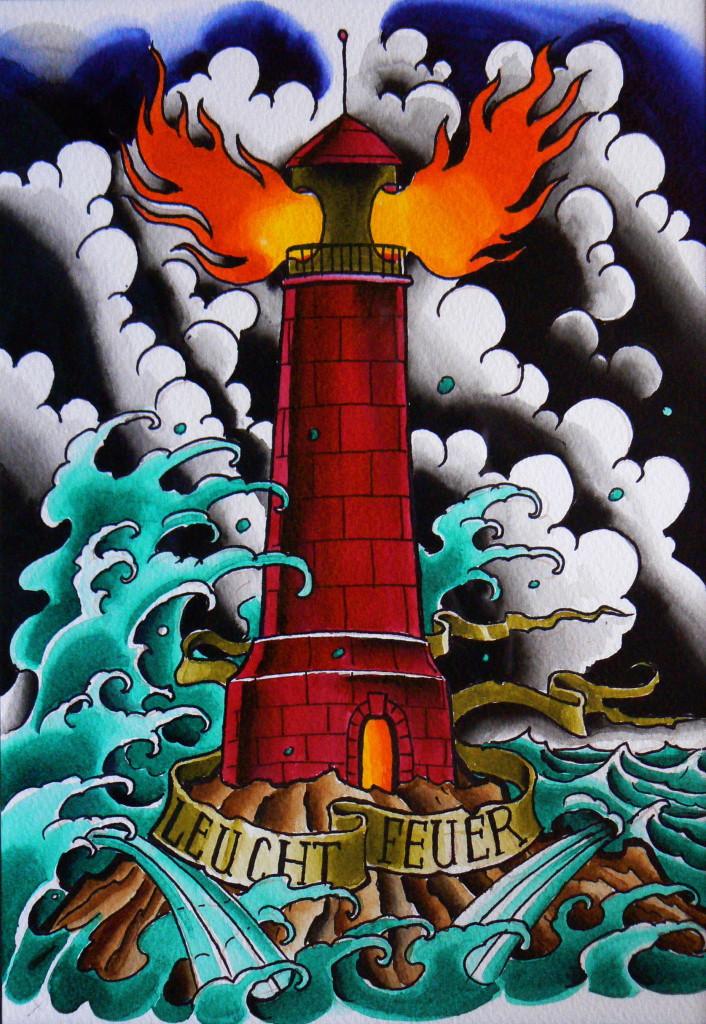 Ziguri#Tattoo#Berin#Schöneberg#Tattooflash#Leuchtturm#
